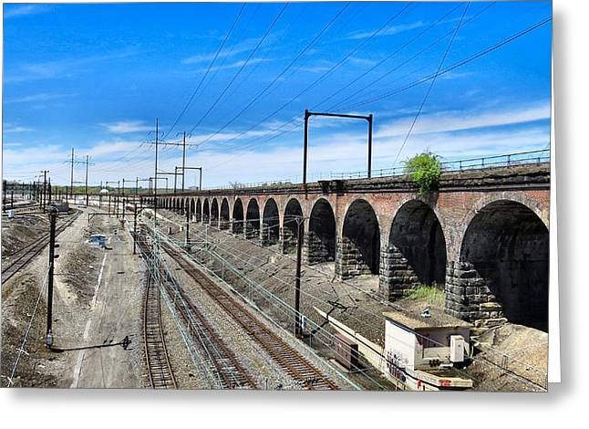 Old Western Photos Greeting Cards - Train Lines Greeting Card by Michelle Milano