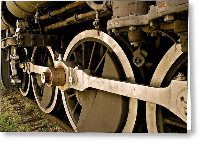 Fort Smith Arkansas Greeting Cards - Train Locomotive Wheels in Sepia Greeting Card by Kirsten Giving