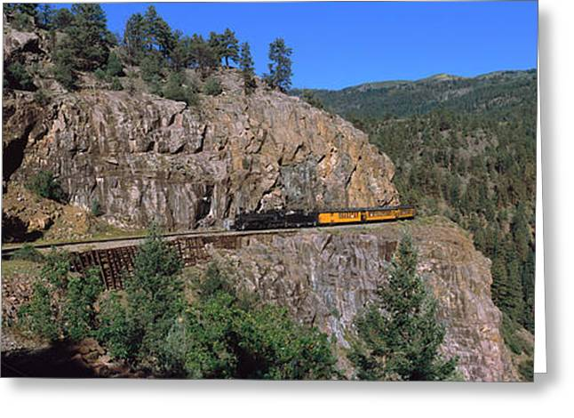 Durango Greeting Cards - Train Moving On A Railroad Track Greeting Card by Panoramic Images