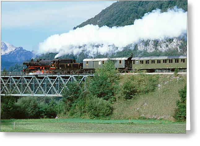 Train On Bridge Greeting Cards - Train On A Bridge, Bohinjska Bistrica Greeting Card by Panoramic Images