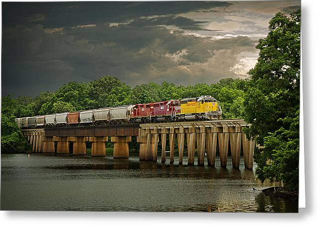 Arkansas Greeting Cards - Train on a Stormy River Evening Greeting Card by Randy Forrester