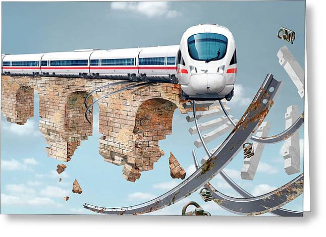 Train On An Aqueduct In Berlin Greeting Card by Smetek