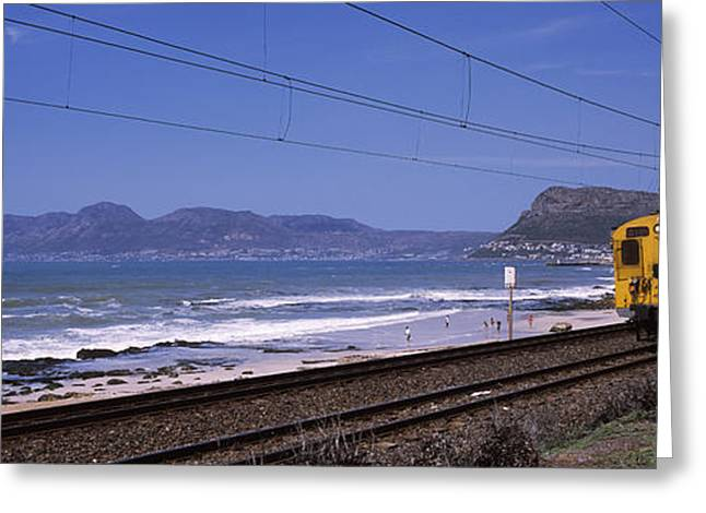 Surf City Greeting Cards - Train On Railroad Tracks, False Bay Greeting Card by Panoramic Images