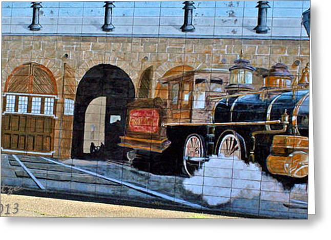 Shower Curtain Greeting Cards - Train On Wall Greeting Card by  ILONA ANITA TIGGES - GOETZE  ART and Photography
