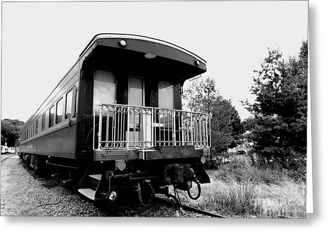 Journeyman Greeting Cards - Train - Passenger Car - Black and White Greeting Card by Paul Ward