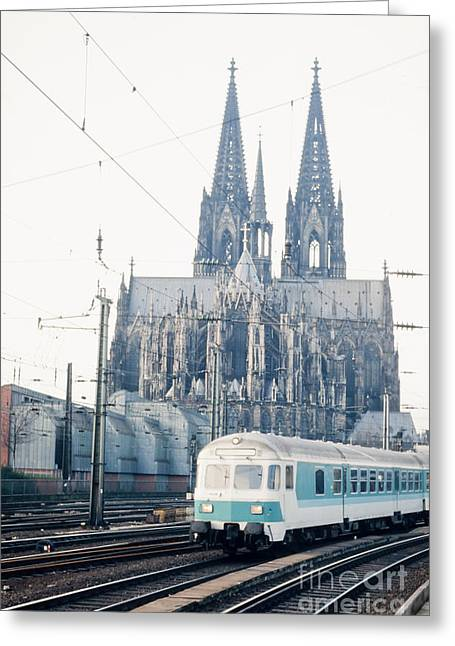 Recently Sold -  - Deutschland Greeting Cards - Train passing Cologne Cathedral Germany Europe Greeting Card by Stephan Pietzko