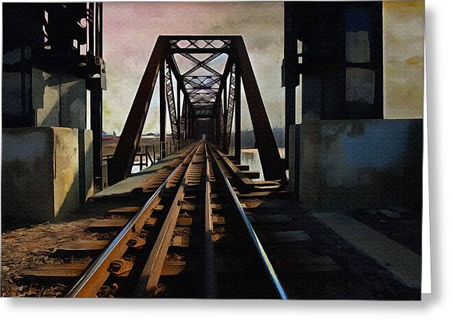 Train On Bridge Greeting Cards - Train Rail Bridge  Greeting Card by L Wright