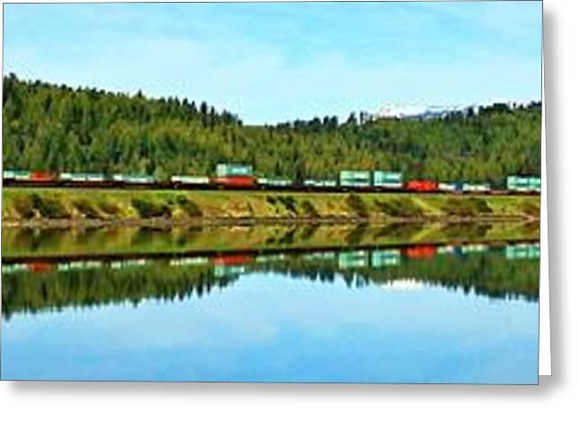 Burlington Northern Greeting Cards - Train Reflecting Greeting Card by Benjamin Yeager