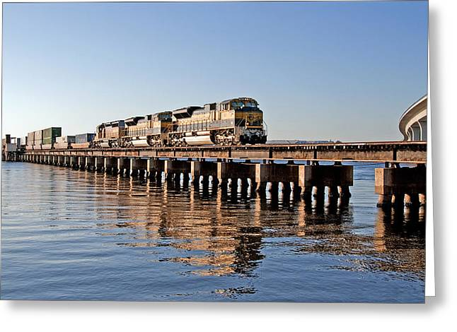 Florida Greeting Cards - Train Reflection Over Water Greeting Card by Alida Thorpe