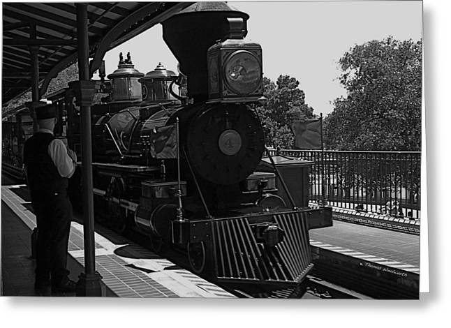 World Showcase Lagoon Greeting Cards - Train Ride Magic Kingdom Black and White Greeting Card by Thomas Woolworth