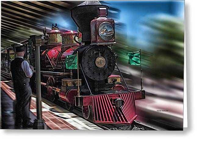 Wdw Greeting Cards - Train Ride Magic Kingdom Greeting Card by Thomas Woolworth