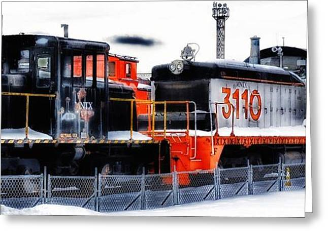 Historic Vehicle Mixed Media Greeting Cards - Train Roundhouse Greeting Card by Todd and candice Dailey