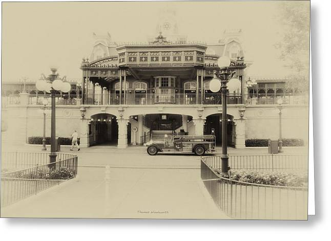 Main Street Greeting Cards - Train Statin WDW in Heirloom Greeting Card by Thomas Woolworth
