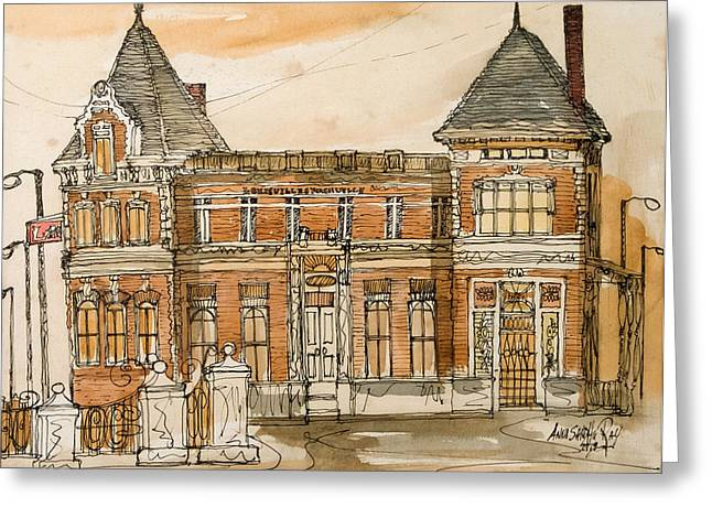 Tennessee Landmark Mixed Media Greeting Cards - Train Station Greeting Card by Anna Sandhu Ray