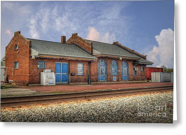 Train Depot Greeting Cards - Train Station in Wapakoneta Ohio Greeting Card by Pamela Baker