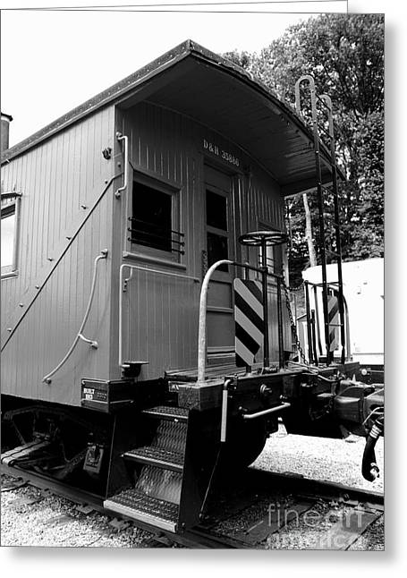 Old Caboose Greeting Cards - Train - The Caboose - Black and White Greeting Card by Paul Ward