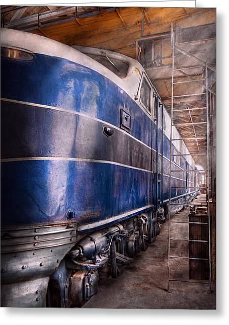 Maintenance Facility Greeting Cards - Train - The maintenance facility  Greeting Card by Mike Savad