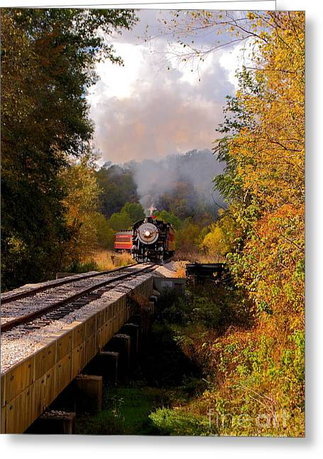 Hobo Greeting Cards - Train Through The Valley Greeting Card by Robert Frederick