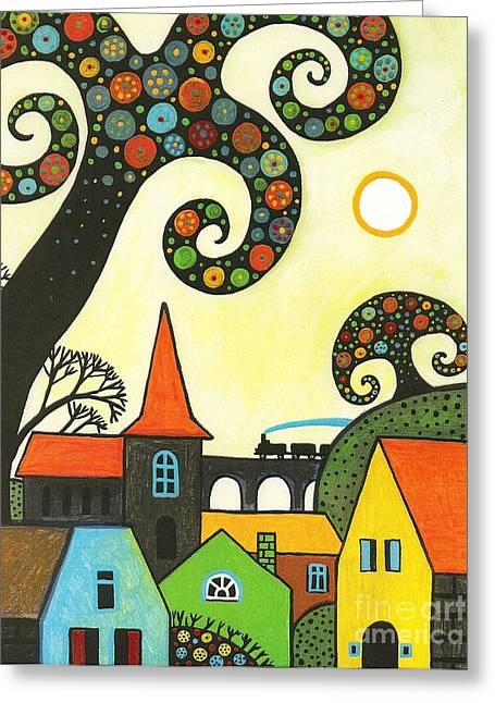 Workday Greeting Cards - Train Through Town Greeting Card by Margaryta Yermolayeva