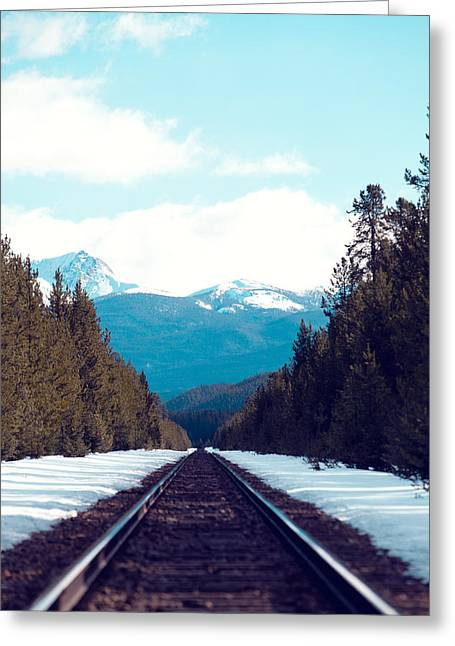Snowy Day Greeting Cards - Train to Mountains Greeting Card by Kim Fearheiley