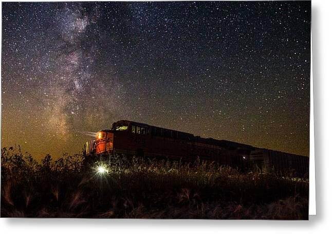 Train Photography Greeting Cards - Train to the Cosmos Greeting Card by Aaron J Groen