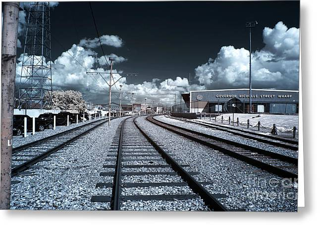 Black And White Train Track Prints Greeting Cards - Train Tracks Blue infrared Greeting Card by John Rizzuto