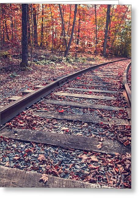 Brilliant Greeting Cards - Train Tracks Greeting Card by Edward Fielding