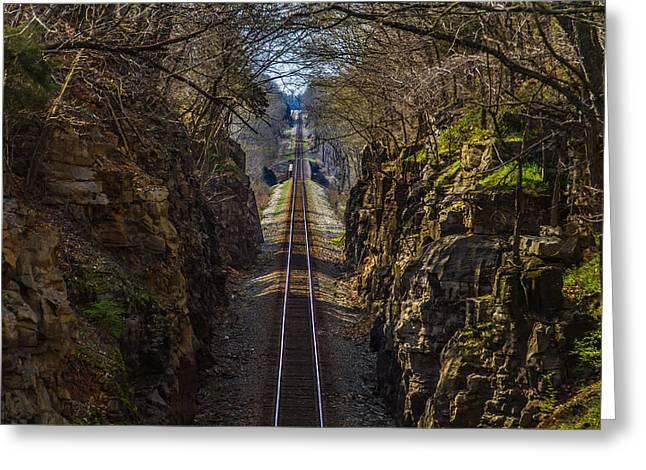 Train Tracks Photo Greeting Card by Rick McKee