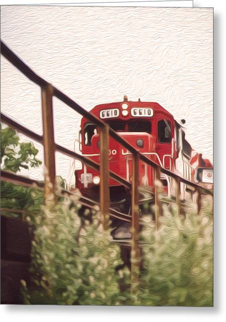 Train On Bridge Greeting Cards - Train Greeting Card by Tracy Winter