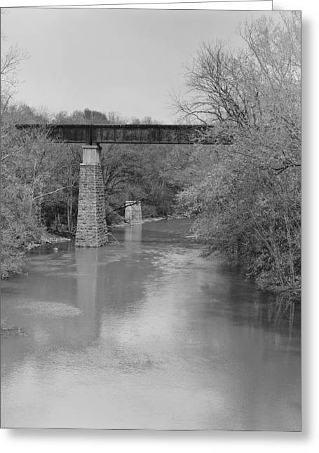 Rural Indiana Greeting Cards - Train Tressel Bridge on the Flat Rock River Greeting Card by William Crenshaw