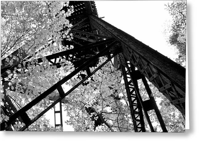 Black Tie Greeting Cards - Train Trestle in the Woods 2.0 Greeting Card by Michelle Calkins