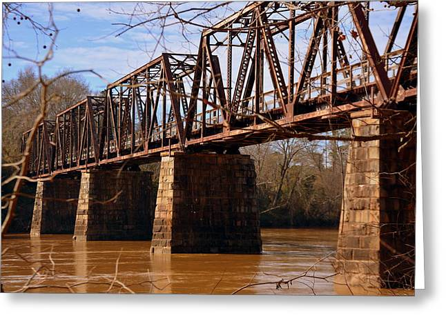 Train Trestle Greeting Card by Lisa Wooten