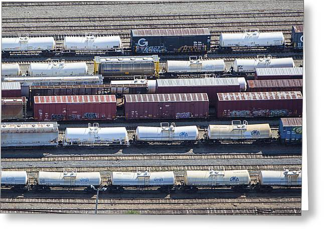 Train Wagons, South Portland Greeting Card by Dave Cleaveland