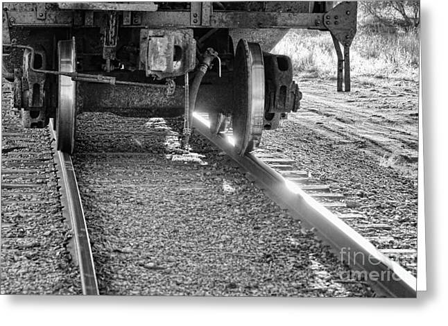 Black And White Train Track Prints Greeting Cards - Train Wheels Hitting the Tracks Greeting Card by James BO  Insogna