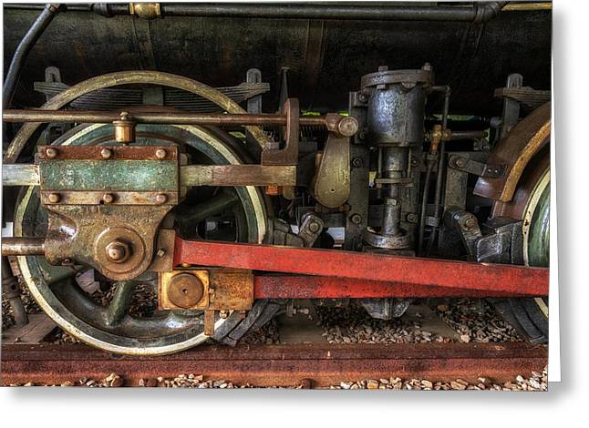 Locomotive Wheels Greeting Cards - Train Wheels Greeting Card by Mark Papke