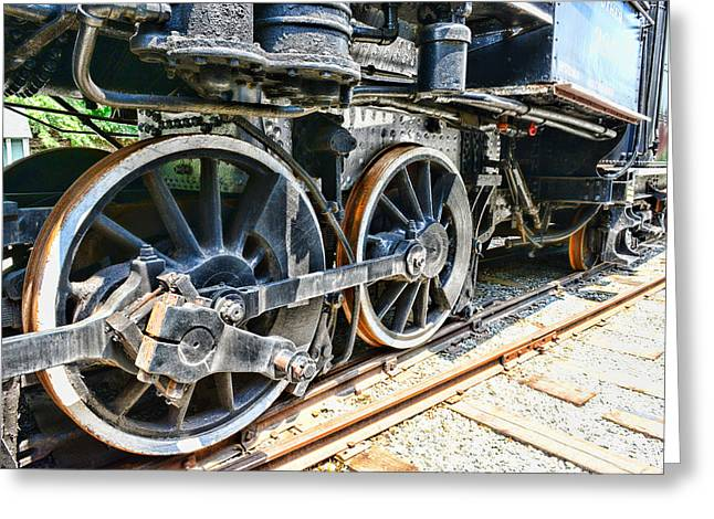 Train Wheels Greeting Card by Paul Ward