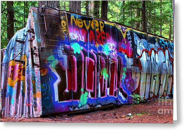 Sea To Sky Highway Greeting Cards - Train Wreck Art In The Woods Greeting Card by Adam Jewell