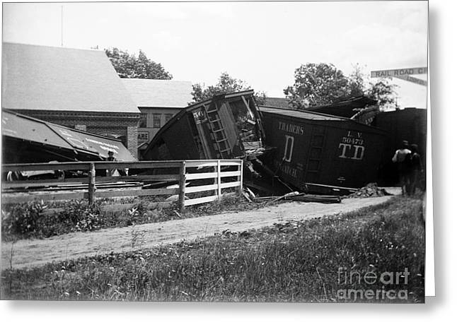 Atwater Greeting Cards - Train Wreck Greeting Card by Jan Faul