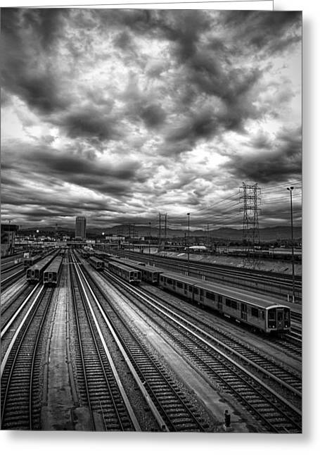 Train Yard Greeting Cards - Train Yard and Clouds Above Greeting Card by Lloyd Rosen
