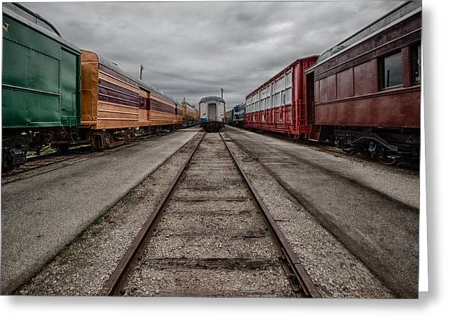 Train Yard Greeting Card by Mike Burgquist