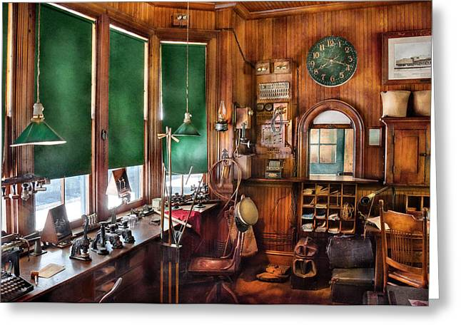 Road Travel Greeting Cards - Train - Yard - The stationmasters office  Greeting Card by Mike Savad