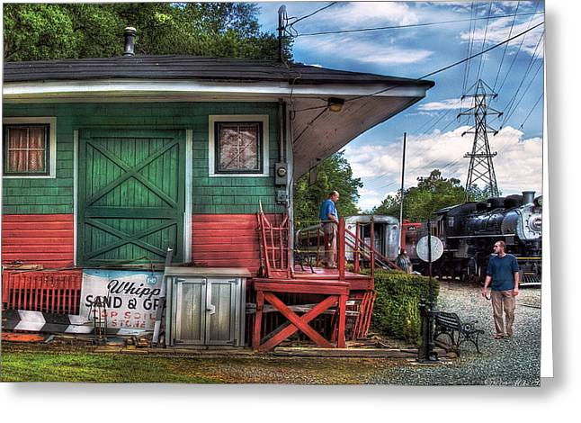 Express Greeting Cards - Train - Yard - The Train Station Greeting Card by Mike Savad