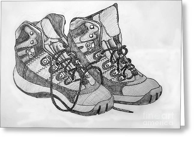 Jogging Drawings Greeting Cards - Trainer Footwear Greeting Card by Stephen Brooks