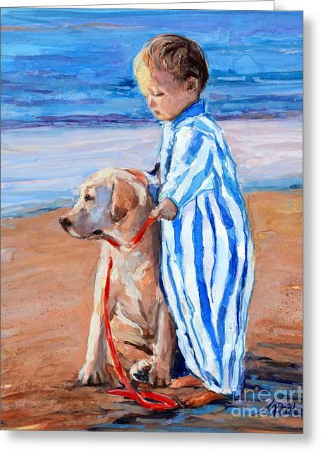 Yellow Labrador Retriever Greeting Cards - Training Day Greeting Card by Molly Poole