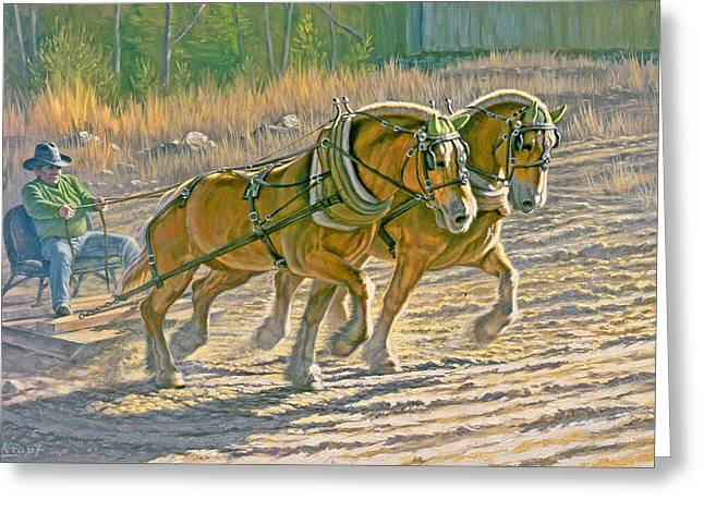 Draft Horse Greeting Cards - Training For The Pull  Greeting Card by Paul Krapf