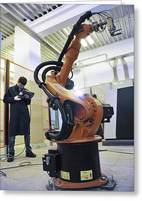 Automated Greeting Cards - Training to use industrial robots Greeting Card by Science Photo Library