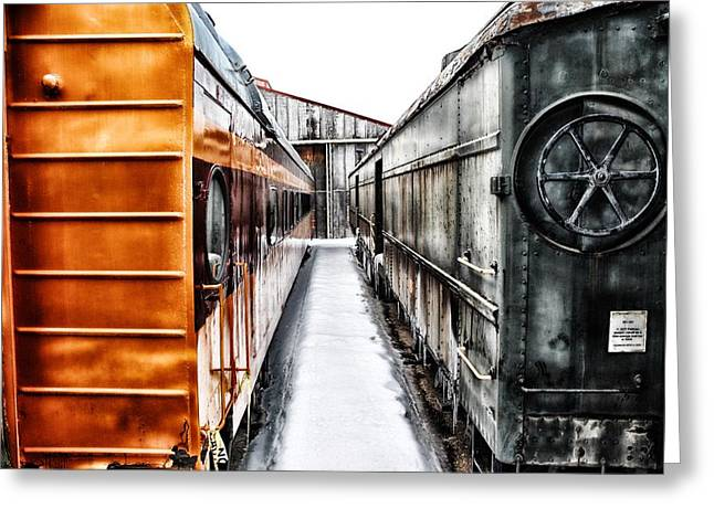 Historic Vehicle Mixed Media Greeting Cards - Trains Greeting Card by Todd and candice Dailey