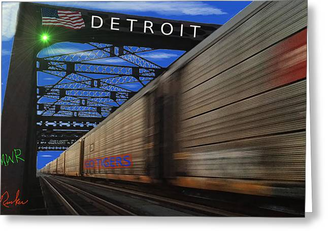 Detroit Tigers Digital Greeting Cards - Trains of Detroit Greeting Card by Michael Rucker