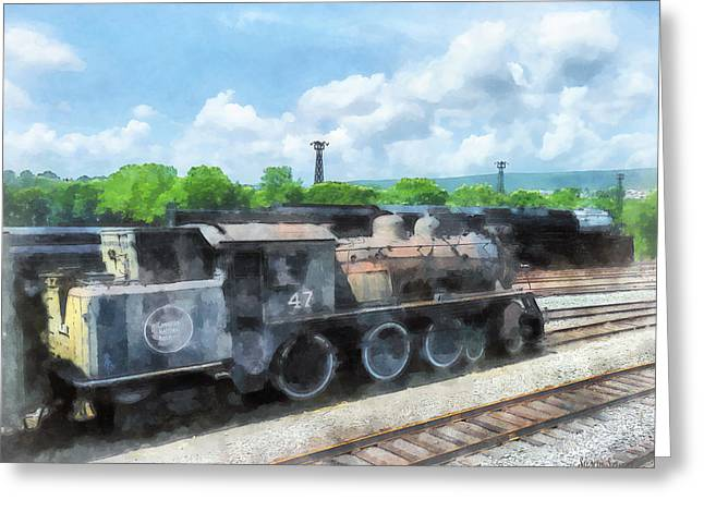 Steam Engine Greeting Cards - Trains - Old Locomotive Greeting Card by Susan Savad