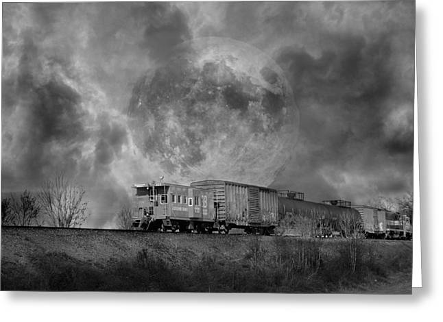 Begin Greeting Cards - Trainscape Greeting Card by Betsy C  Knapp